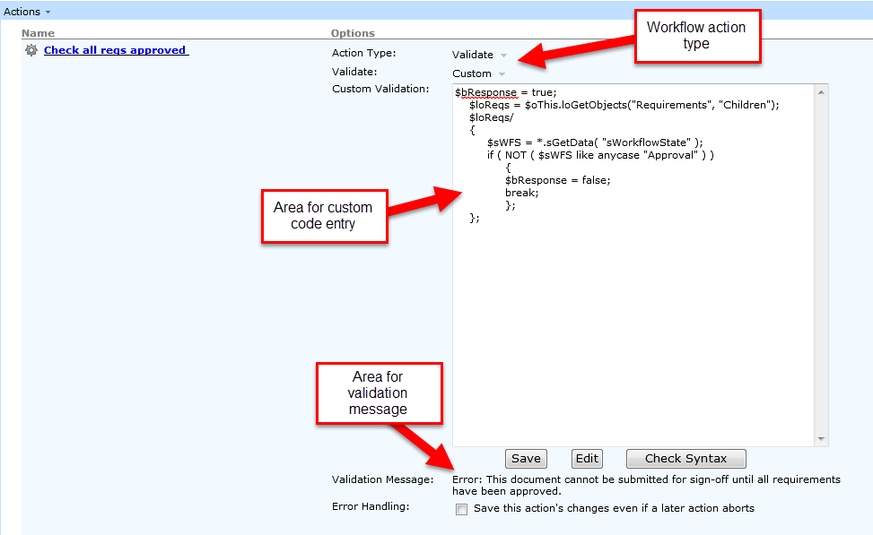 Workflow Action Custom Validation Cognition Support Wiki